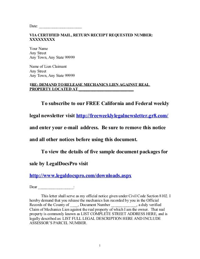 sample california mechanics lien release demand letter With mechanics lien letter template