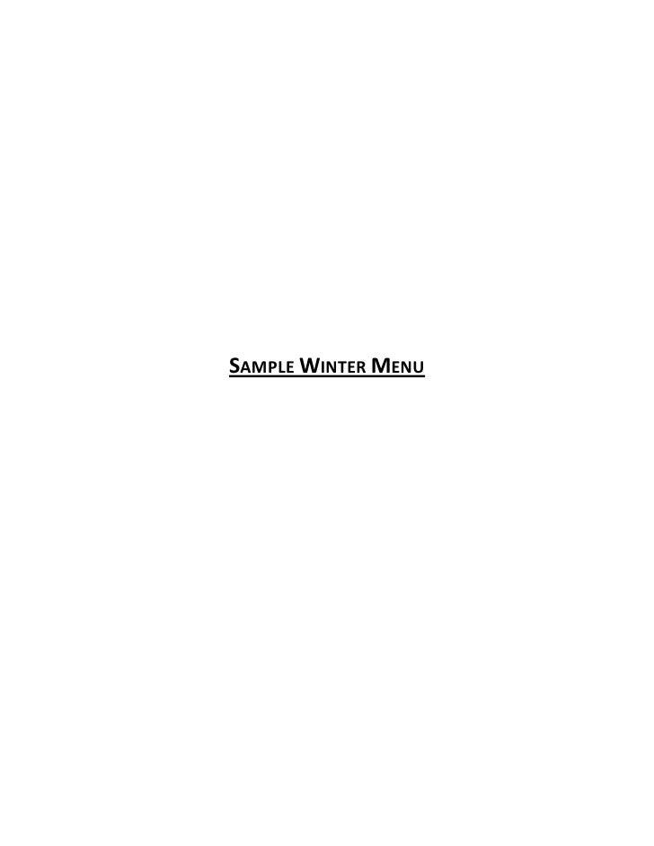 Sample Menus