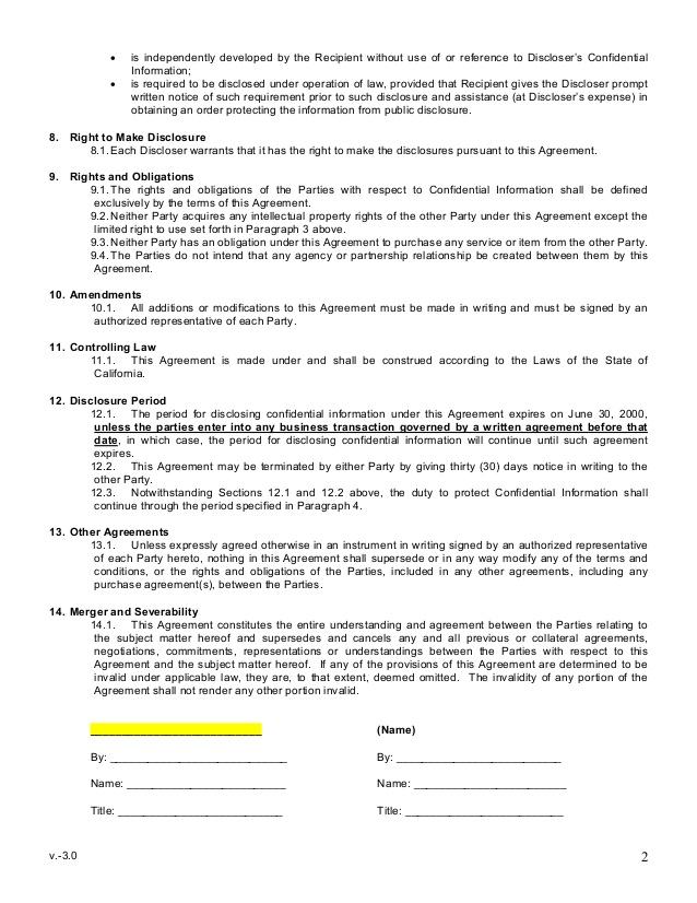 sample mutual non disclosure agreement. Black Bedroom Furniture Sets. Home Design Ideas