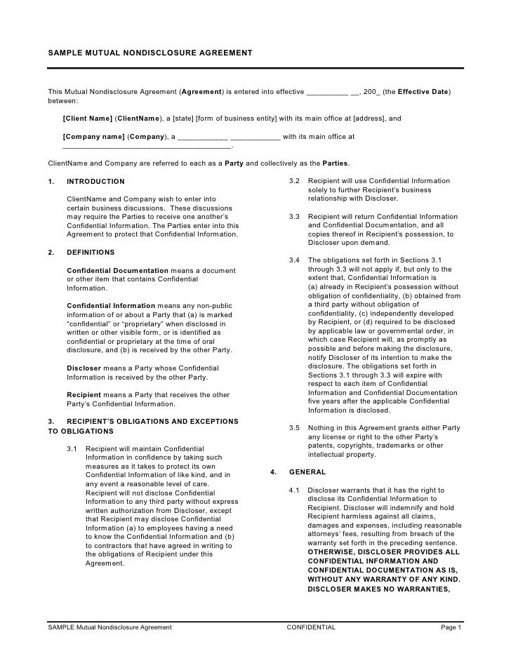 Intellectual Property Non Disclosure Agreement Template Mandegarfo