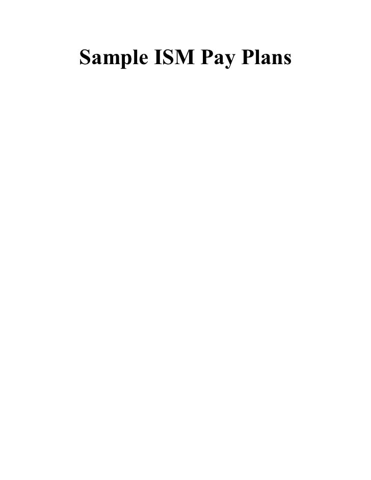 Sample ISM Pay Plans