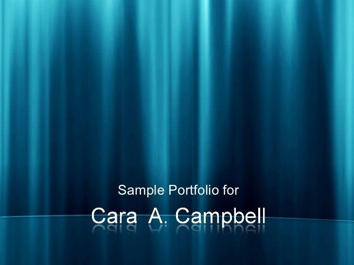 <ul><li>Sample Portfolio for </li></ul>