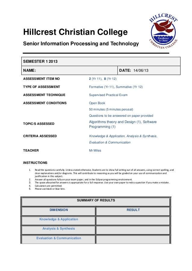 Sample prac exam2013