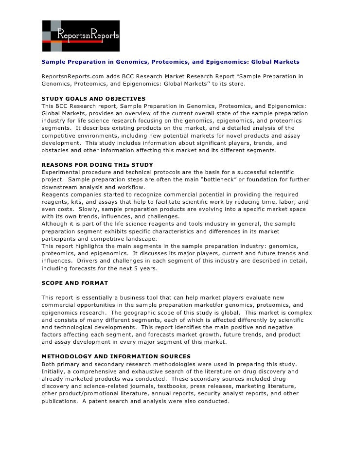 Sample Preparation in Genomics, Proteomics, and Epigenomics: Global MarketsReportsnReports.com adds BCC Research Market Re...