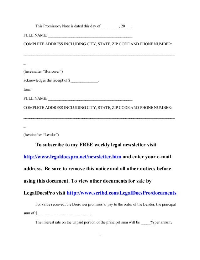Free sample promissory note for Free sample promissory note