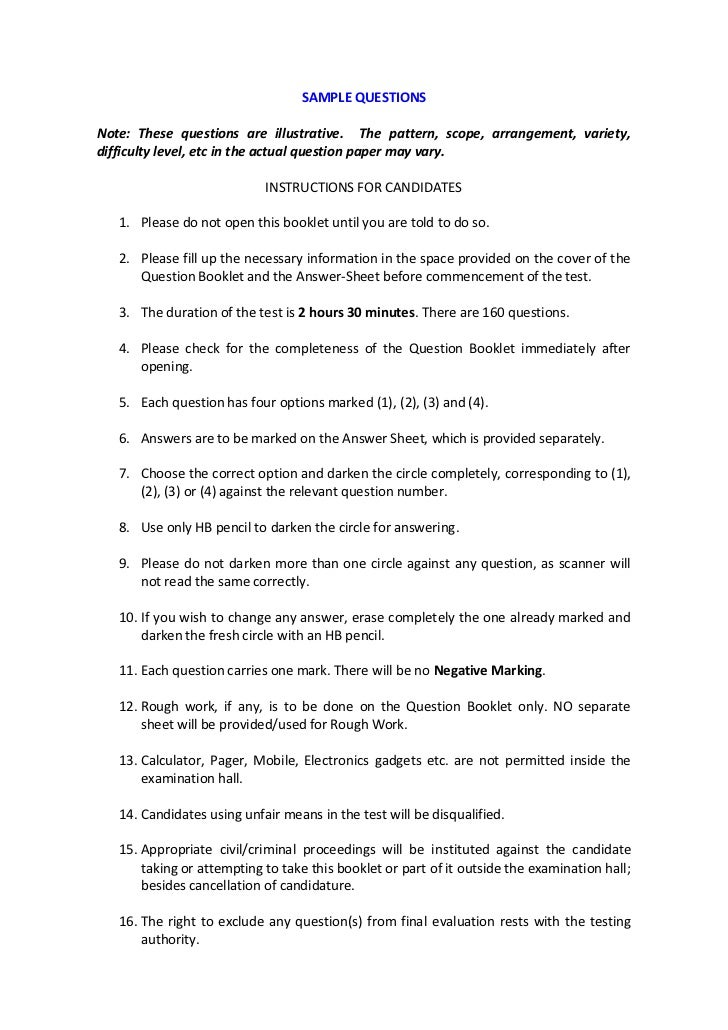 SAMPLE QUESTIONSNote: These questions are illustrative. The pattern, scope, arrangement, variety,difficulty level, etc in ...