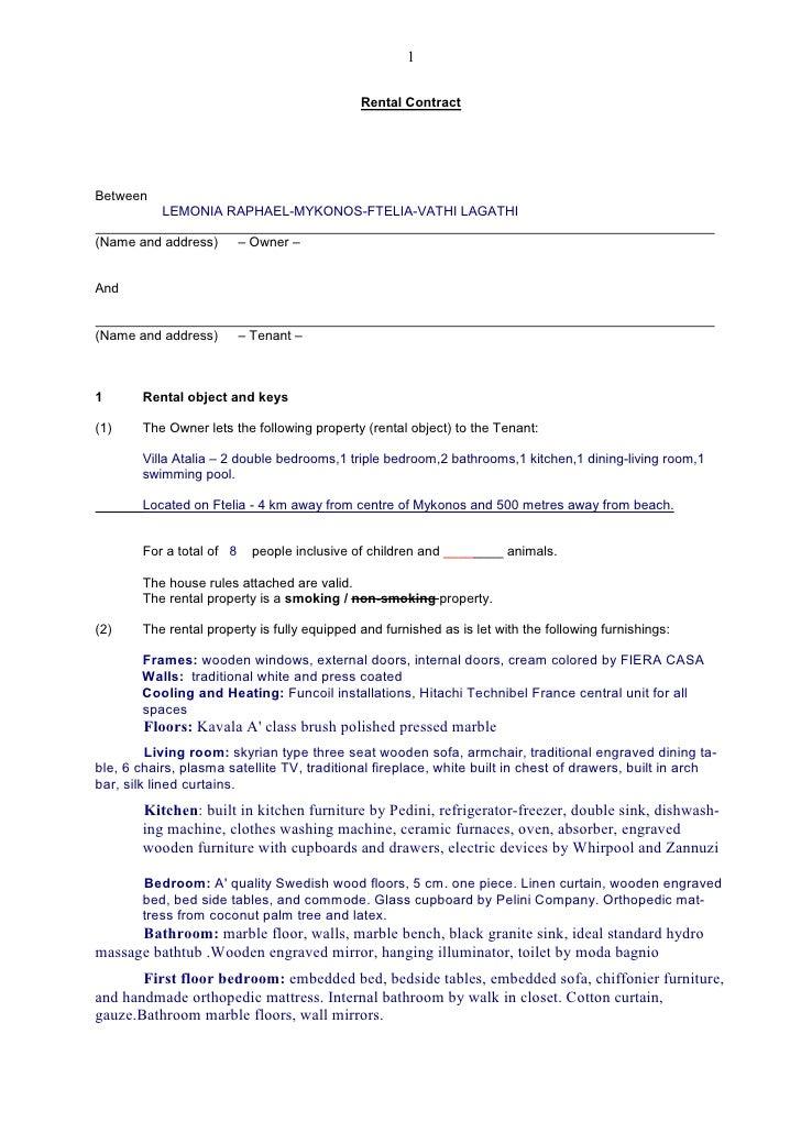 1                                                Rental Contract     Between            LEMONIA RAPHAEL-MYKONOS-FTELIA-VAT...