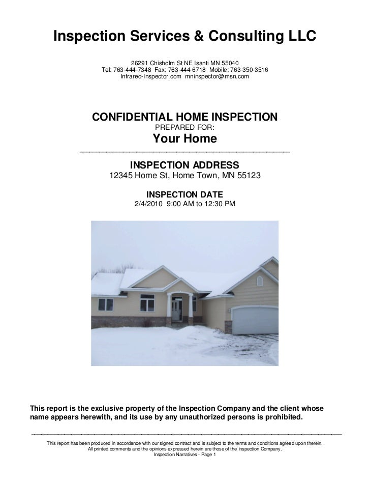 Inspection Services & Consulting LLC                                          26291 Chisholm St NE Isanti MN 55040        ...