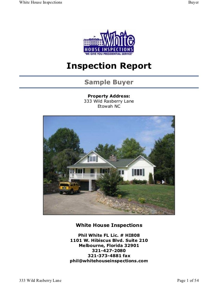 White House Inspections                                            Buyer                          Inspection Report       ...