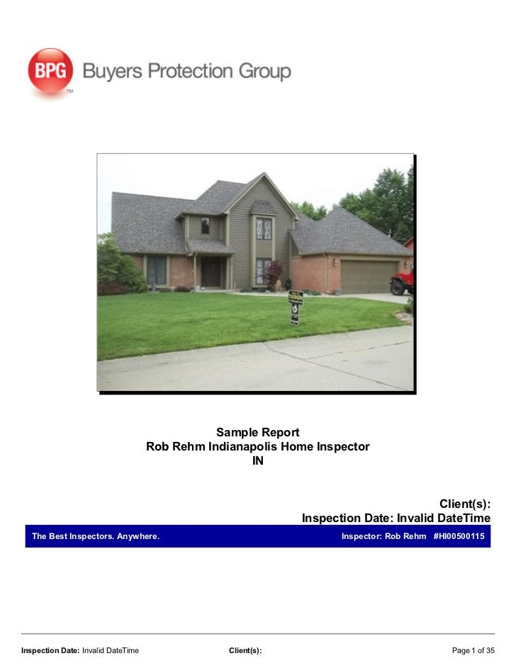 Rob Rehm Indianapolis Home Inspectors Sample Home Inspection Report