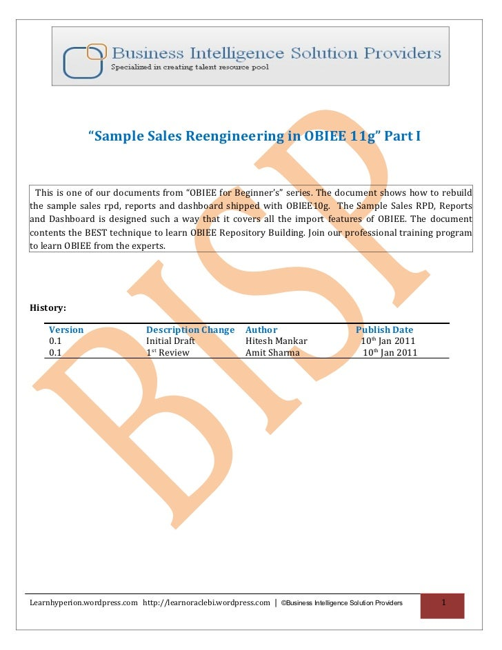 """Sample Sales Reengineering in OBIEE 11g"" Part I This is one of our documents from ""OBIEE for Beginner's"" series. The docu..."