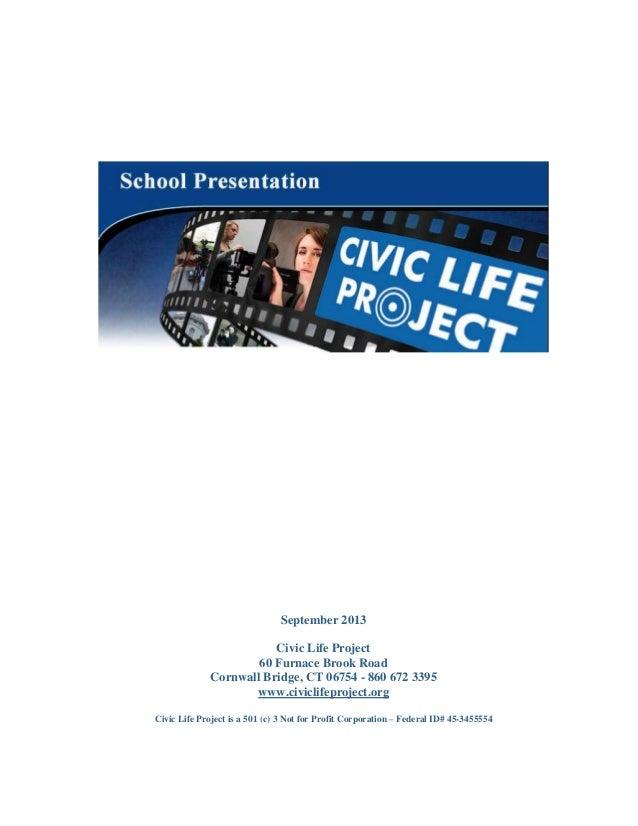 Civic Life Project School presentation 090313