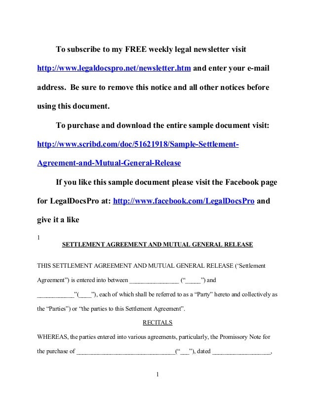 Sample California Settlement Agreement And Mutual General