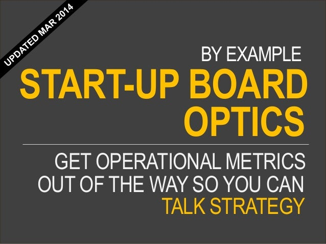 GET OPERATIONALMETRICS START-UP BOARD OUT OF THE WAY SO YOU CAN TALK STRATEGY BY EXAMPLE OPTICS