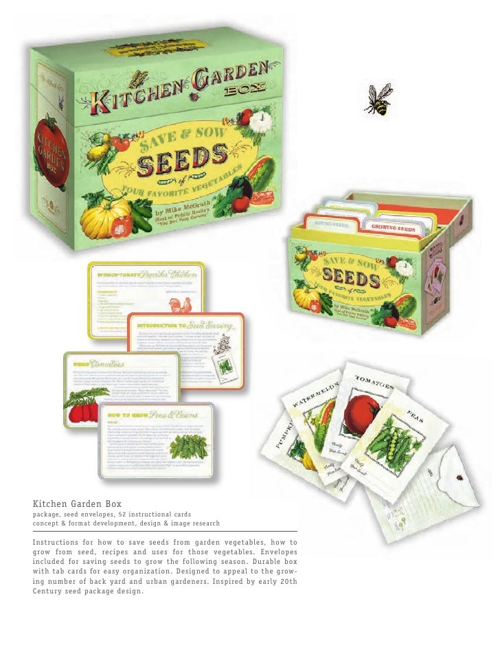 Kitchen Garden Box package, seed envelopes, 52 instructional cards concept & format development, design & image research  ...