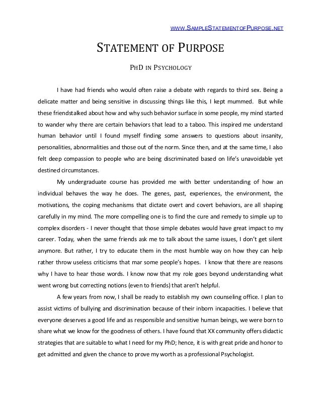Doctoral dissertation purpose statement