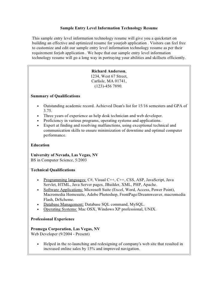 sample resume boston university sample information technology resume entry level writing mba. Black Bedroom Furniture Sets. Home Design Ideas
