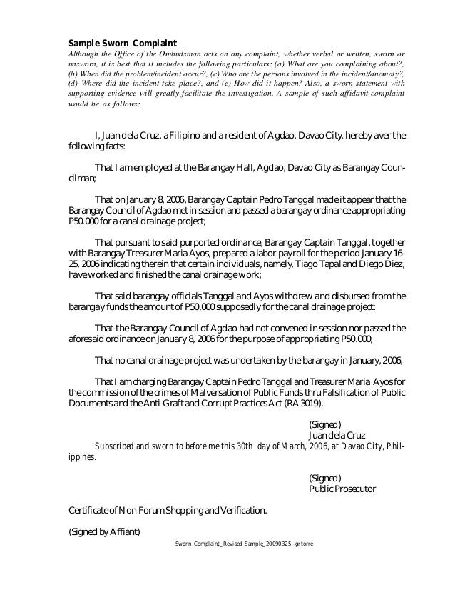 sample sworn statement template
