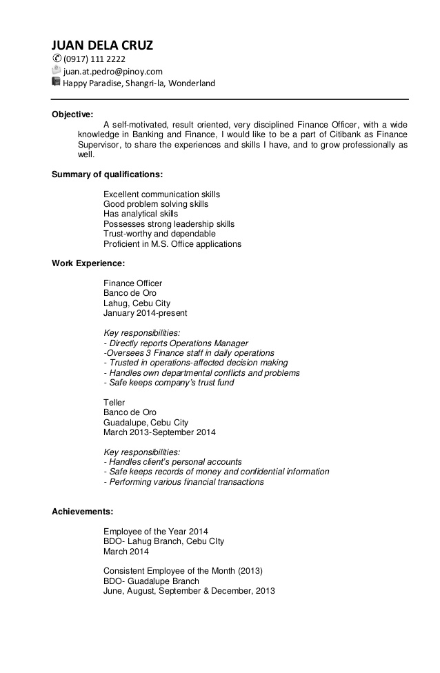 Resume For Ojt Bsba   Clasifiedad  Com VisualCV