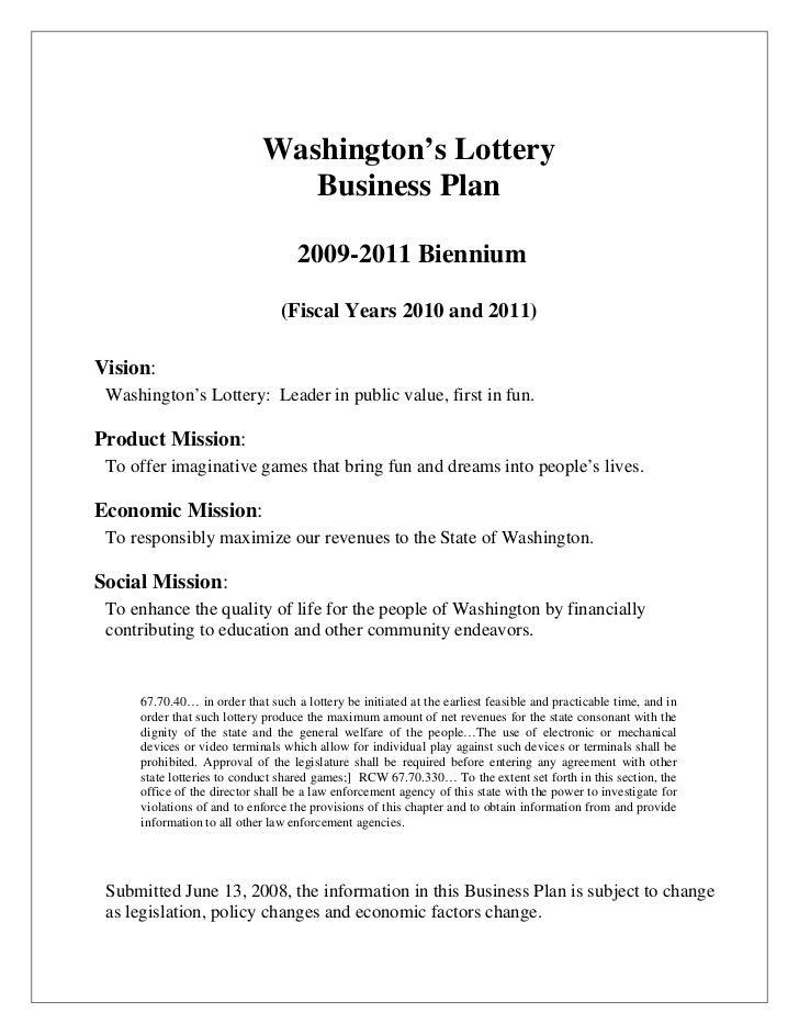 Washington's Lottery                               Business Plan                                   2009-2011 Biennium     ...