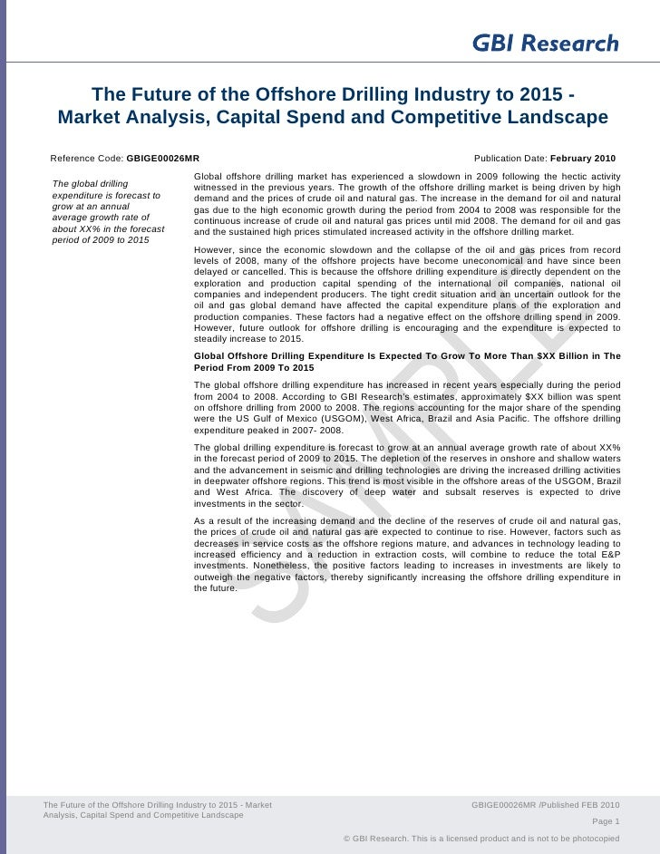 The Future of the Offshore Drilling Industry to 2015 -    Market Analysis, Capital Spend and Competitive Landscape  Refere...