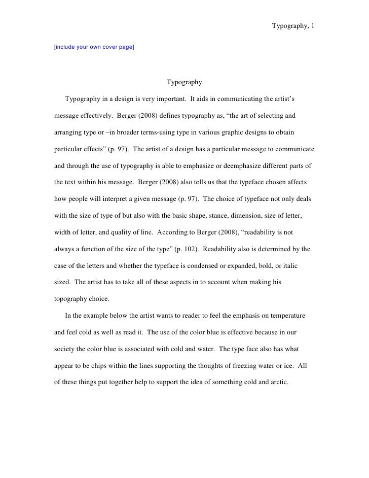Typography, 1  [include your own cover page]                                             Typography     Typography in a de...