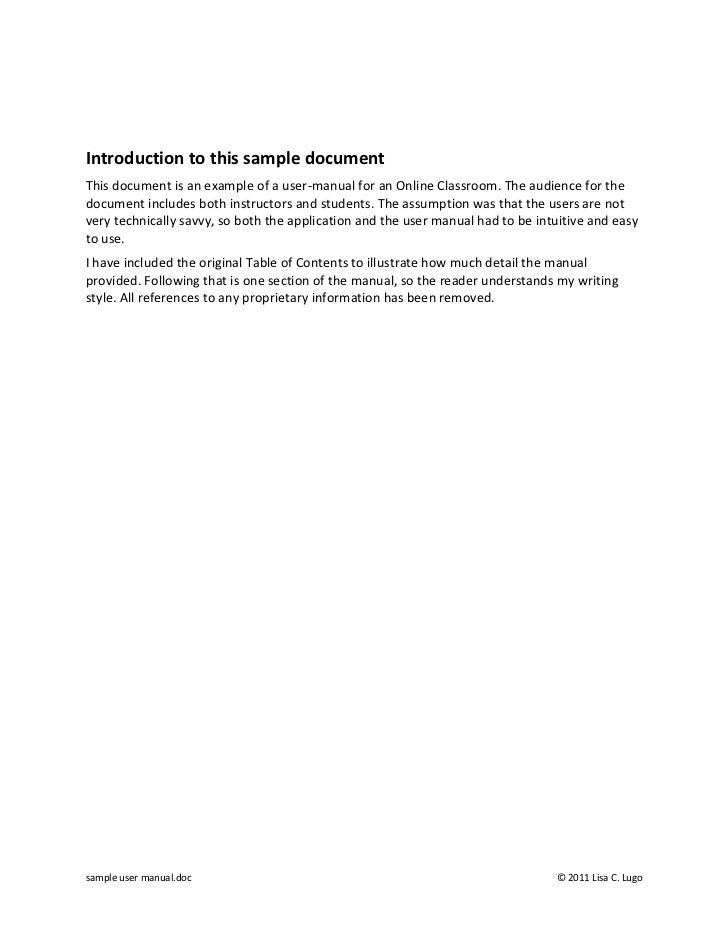 Introduction to this sample documentThis document is an example of a user-manual for an Online Classroom. The audience for...