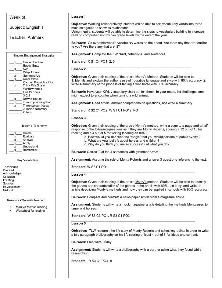 Sample Weekly Lesson Plans