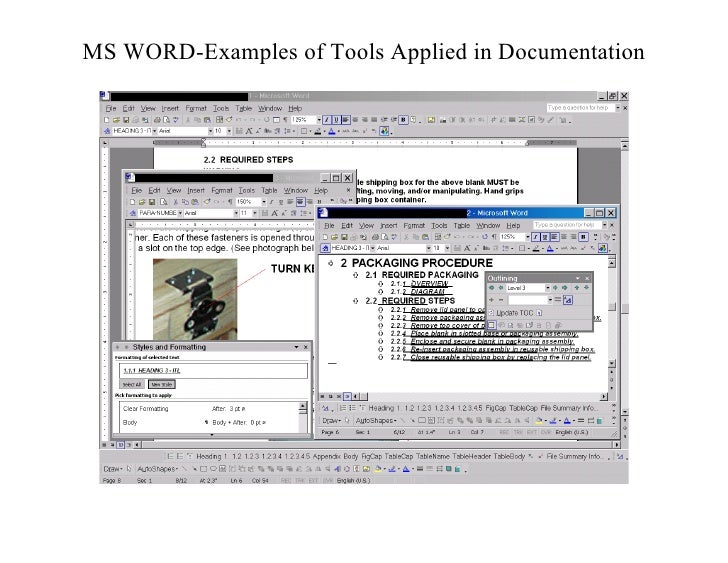 MS WORD-Examples of Tools Applied in Documentation