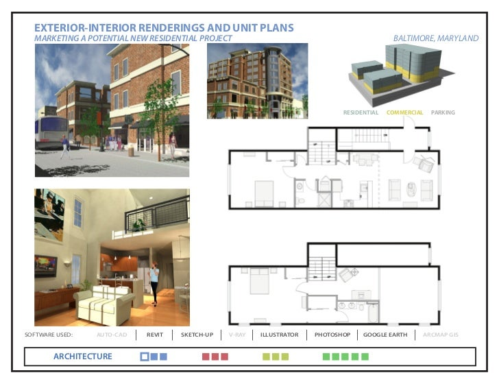 EXTERIOR-INTERIOR RENDERINGS AND UNIT PLANS  MARKETING A POTENTIAL NEW RESIDENTIAL PROJECT                                ...