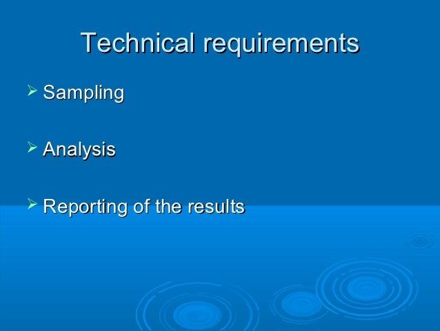 Sampling analysis-reporting