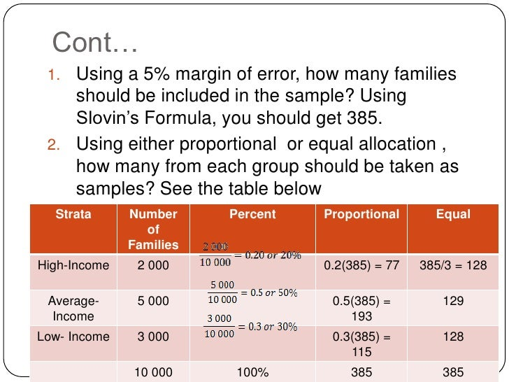 slovin formula The second formula applies when estimating the arithmetic mean (average) of a particular variable for a population suppose, for example, that you wanted to know the average employee satisfaction level in your organisation.