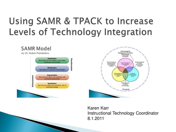 Using SAMR & TPACK to Increase Levels of Technology Integration<br />Karen Karr<br />Instructional Technology Coordinator<...