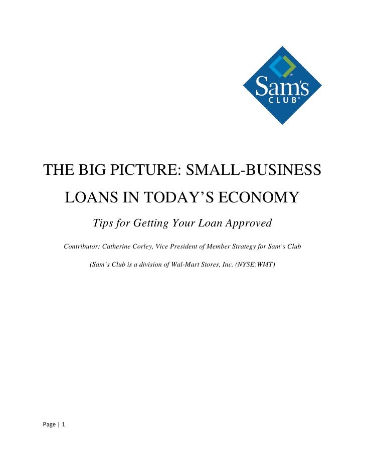 THE BIG PICTURE: SMALL-BUSINESS        LOANS IN TODAY'S ECONOMY                 Tips for Getting Your Loan Approved       ...