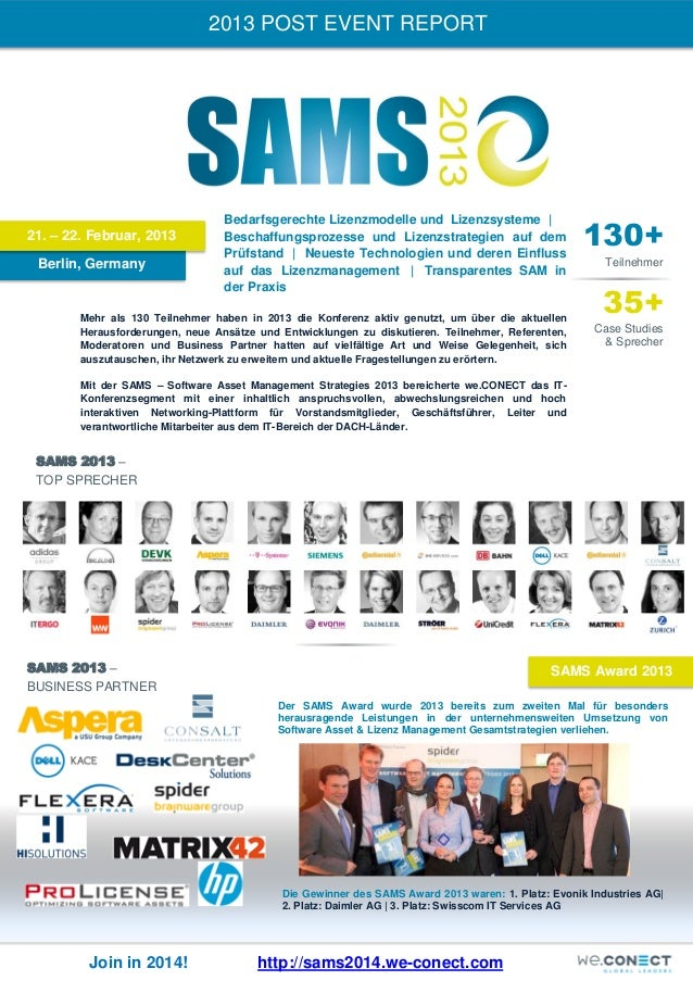 2013 POST EVENT REPORT  21. – 22. Februar, 2013 Berlin, Germany  Bedarfsgerechte Lizenzmodelle und Lizenzsysteme | Beschaf...