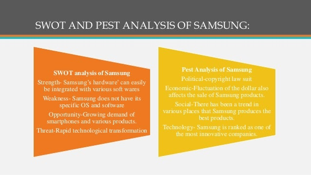 swot analysis on samsung In the swot analysis of samsung, the strongest is its product portfolio which  includes mobile phone, tablets, tv/audio/video, camera,.