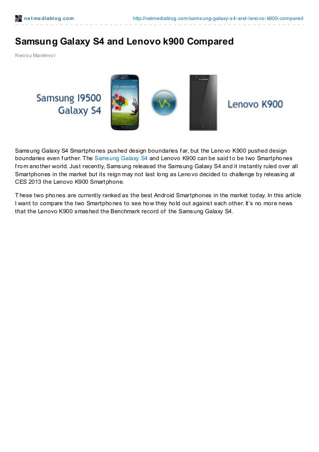 Samsung galaxy s4 and lenovo k900 compared