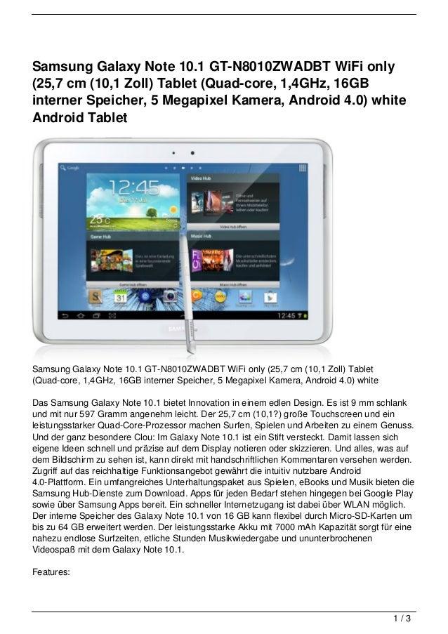 Samsung Galaxy Note 10.1 GT-N8010ZWADBT WiFi only(25,7 cm (10,1 Zoll) Tablet (Quad-core, 1,4GHz, 16GBinterner Speicher, 5 ...