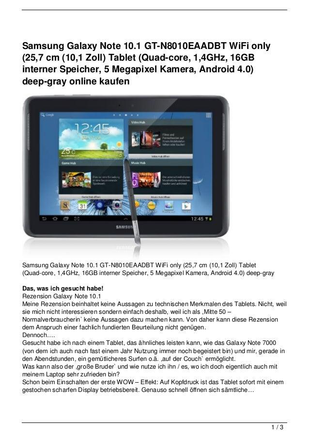 Samsung Galaxy Note 10.1 GT-N8010EAADBT WiFi only(25,7 cm (10,1 Zoll) Tablet (Quad-core, 1,4GHz, 16GBinterner Speicher, 5 ...