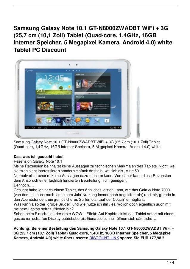Samsung Galaxy Note 10.1 GT-N8000ZWADBT WiFi + 3G(25,7 cm (10,1 Zoll) Tablet (Quad-core, 1,4GHz, 16GBinterner Speicher, 5 ...
