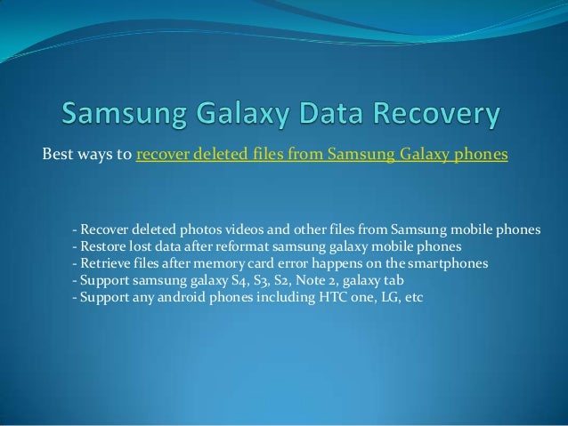 Samsung galaxy photo video recovery