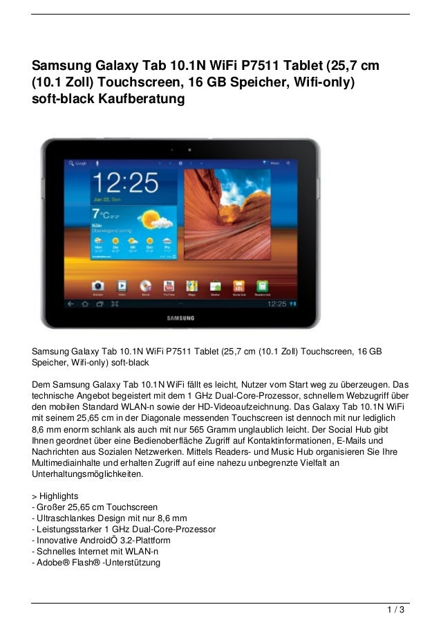 Samsung Galaxy Tab 10.1N WiFi P7511 Tablet (25,7 cm(10.1 Zoll) Touchscreen, 16 GB Speicher, Wifi-only)soft-black Kaufberat...