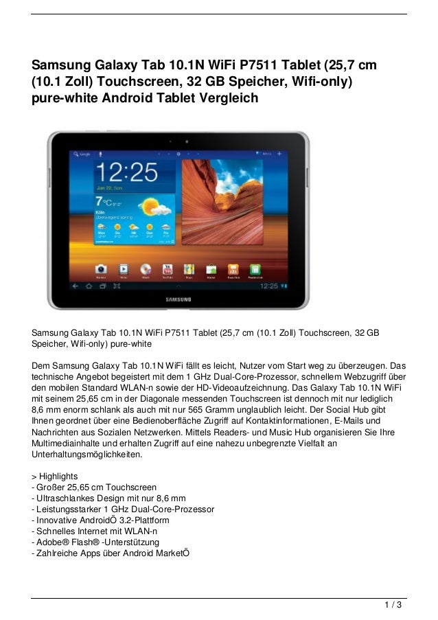 Samsung Galaxy Tab 10.1N WiFi P7511 Tablet (25,7 cm(10.1 Zoll) Touchscreen, 32 GB Speicher, Wifi-only)pure-white Android T...