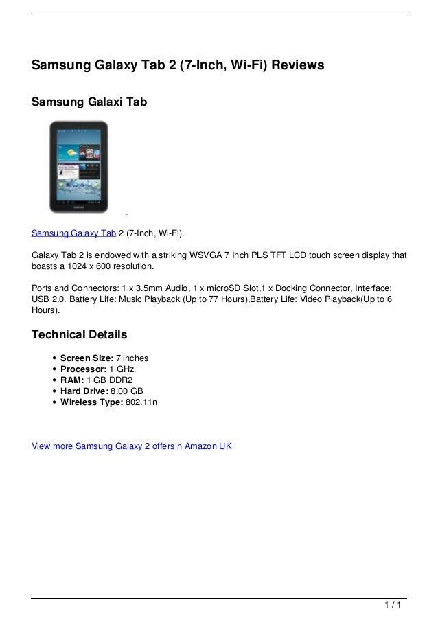Samsung Galaxy Tab 2 (7-Inch, Wi-Fi) Reviews                                   Samsung Galaxi Tab                         ...
