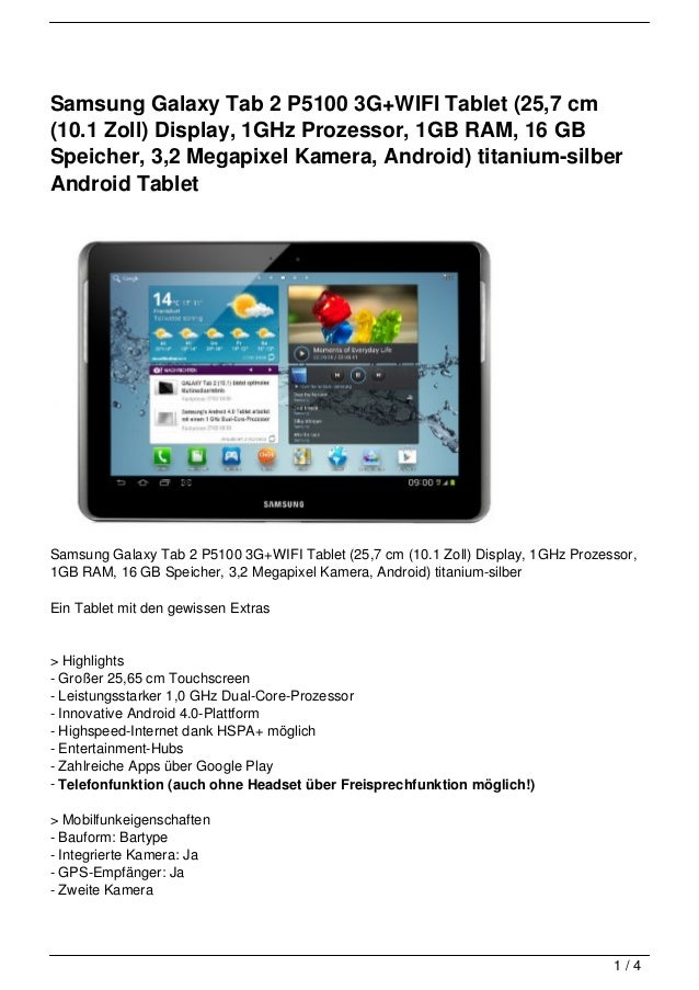 Samsung Galaxy Tab 2 P5100 3G+WIFI Tablet (25,7 cm(10.1 Zoll) Display, 1GHz Prozessor, 1GB RAM, 16 GBSpeicher, 3,2 Megapix...