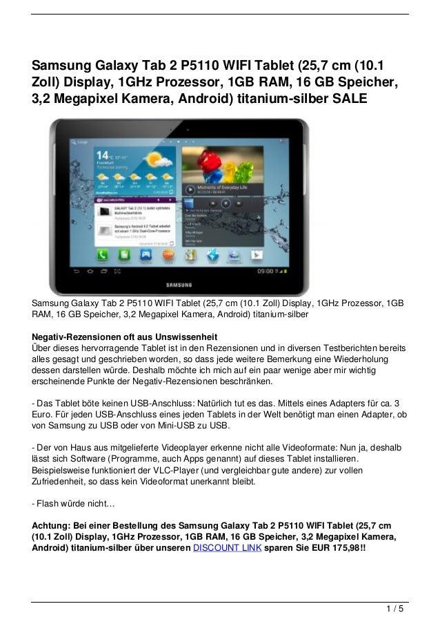 Samsung Galaxy Tab 2 P5110 WIFI Tablet (25,7 cm (10.1Zoll) Display, 1GHz Prozessor, 1GB RAM, 16 GB Speicher,3,2 Megapixel ...