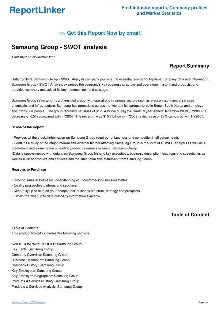 Samsung Group - SWOT analysis
