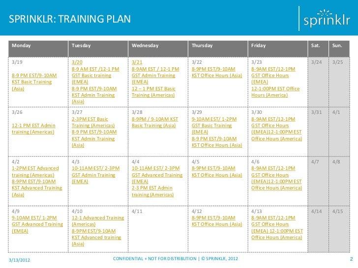 SPRINKLR: TRAINING PLAN Monday                  Tuesday                  Wednesday                Thursday                ...
