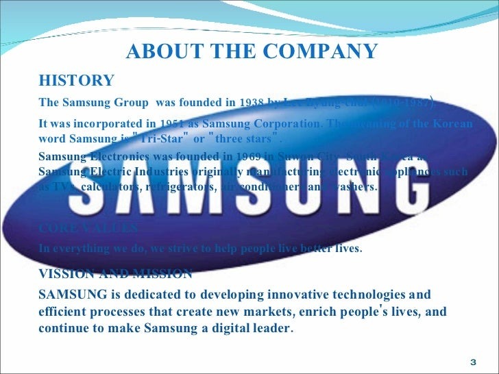 samsung company overview In 1947, cho hong-jai, the hyosung group's founder, jointly invested in a new company called samsung mulsan gongsa, or the samsung trading corporation.