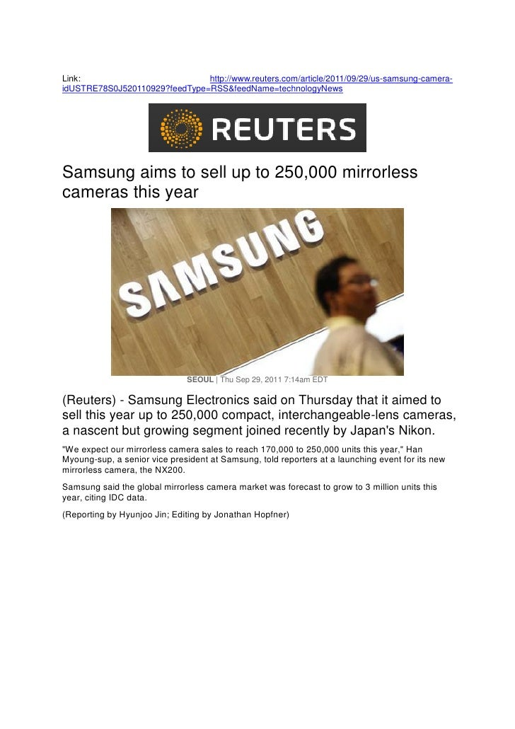 Samsung aims to sell up to 250,000 mirrorless cameras this year (REUTERS)